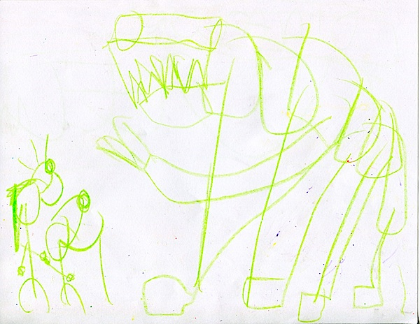 """Don't worry, Mom, the dinosaur won't eat them.  It's just a skeleton."""