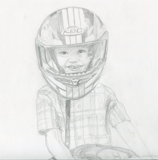 Thomas, on his dad's friend's motorcycle