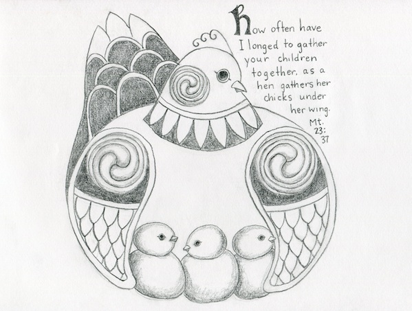 Here is a picture inspired by the designs of George Bain.  Incidentally, drawing + Celtic design + chickens = happiness for Maria.