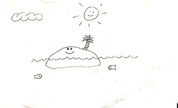 Michael drew this little picture for me a long time ago, on the back of a store receipt. I keep it in my desk.