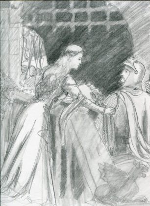 "Sketch of ""Godspeed"" by Edmund Leighton"
